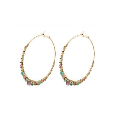 Bohemian amazonite hoop earrings for pierced ears   Multiblue