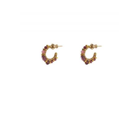 Boucles d'oreilles créoles percées précieuses grenat   Prune