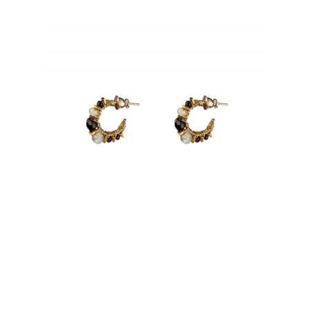 Fashionable hoop earrings for pierced ears with malachite | Green
