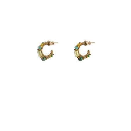 Boucles d'oreilles créoles percées bohème malachite   Vert