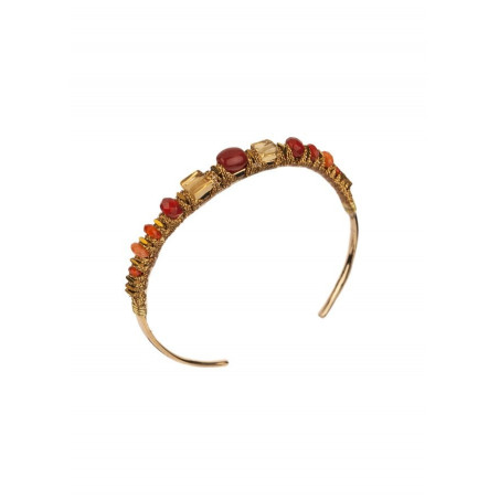 Ethnic carnelian and agate bangle | Orange