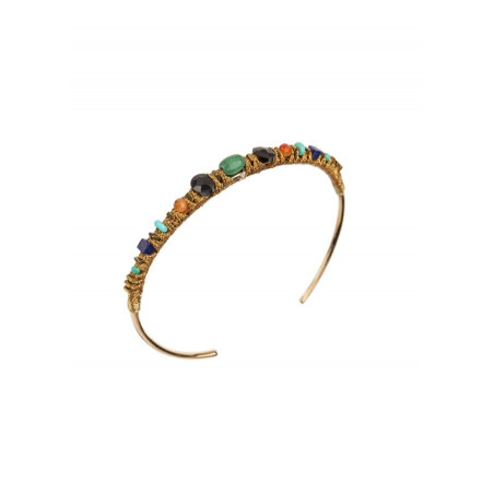 Summery bangle with turquoise and garnet | Multicolor