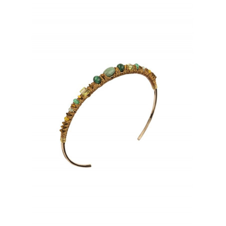 Contemporary bangle with aventurine and jade l Green