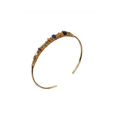 Bracelet jonc pop turquoise et grenat | Multicolore