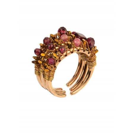 Ethnic multiple rings with garnet, jade and tourmaline l Plum