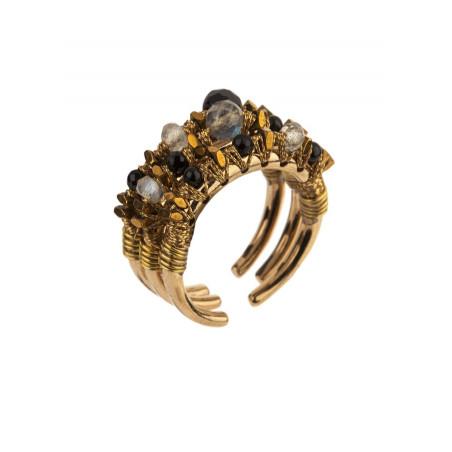 Bagues multiples rock onyx et hématite dorée | Noir