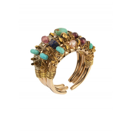 Glamorous multiple rings with tourmaline and amazonite l Mauve