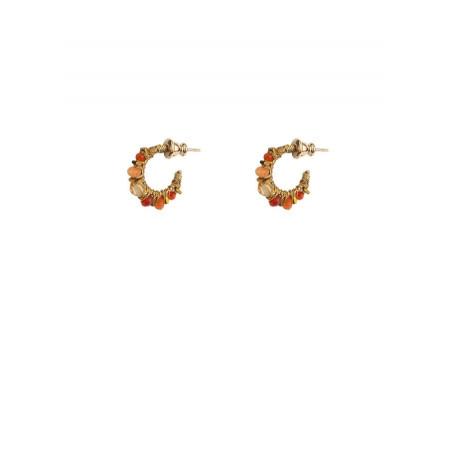 Boucles d'oreilles créoles percées élégantes cornaline | Orange