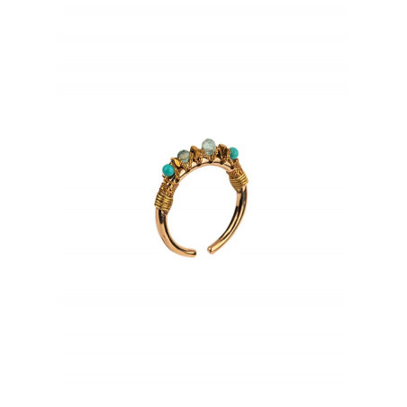 Exotic ring with howlite and amazonite l Multiblue