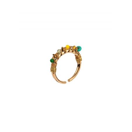 Bague bohème malachite et jade | Vert