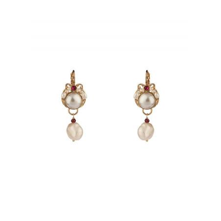 Boucles d'oreilles dormeuses perles et cristal | Perle