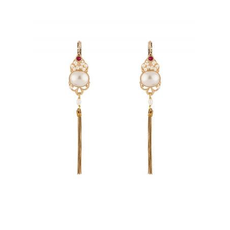 Chic pearl crystal sleeper earrings l Pearl
