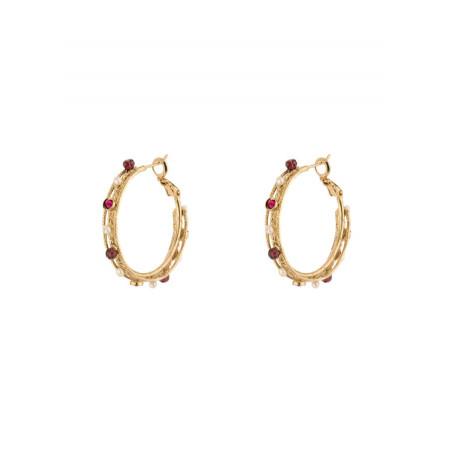 Boucles d'oreilles créoles bohèmes perles cristaux | Perle