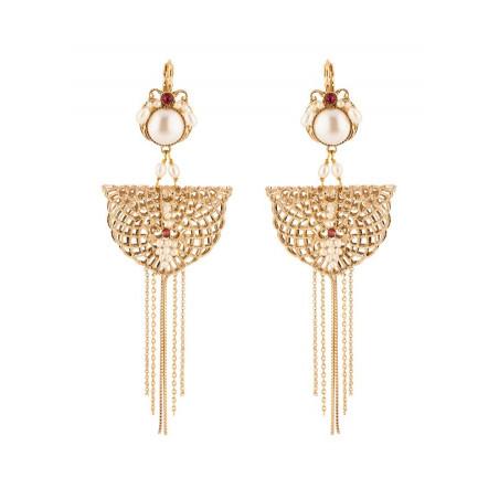 Boucles d'oreilles dormeuses glamour cristal | Perle