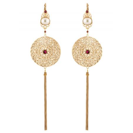 Graphic garnet sleeper earrings l Pearl