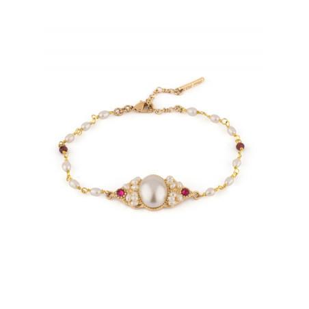Bracelet souple féminin grenats et perles de rivière | Perle