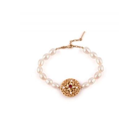 Bracelet souple romantique perles et cristal   Perle