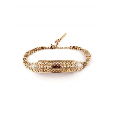 Feminine garnet and pearl flexible bracelet | Pearl