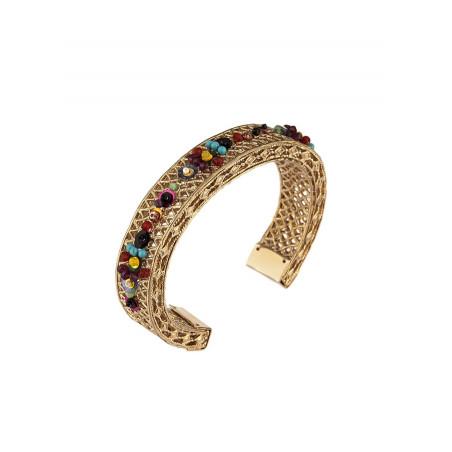 Bracelet jonc fantasque pierres et sequins   Multicolore