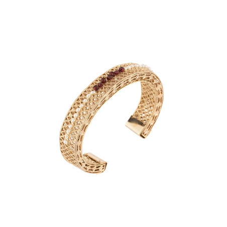Sophisticated garnet and freshwater pearl bangle| Pearl