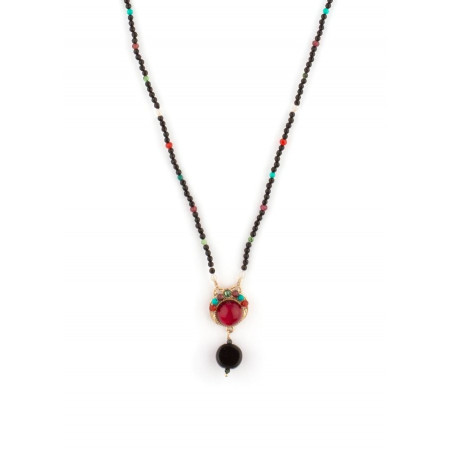 Collier pendentif raffiné perles et pierres   Multicolore