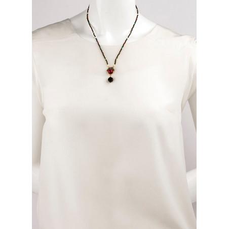 Collier pendentif raffiné perles et pierres   Multicolore71594