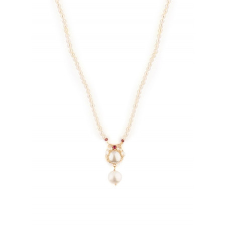 Baroque pearl and garnet pendant necklace |Pearl