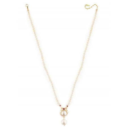 Baroque pearl and garnet pendant necklace |Pearl71597
