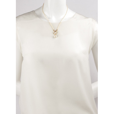 Baroque pearl and garnet pendant necklace |Pearl71598