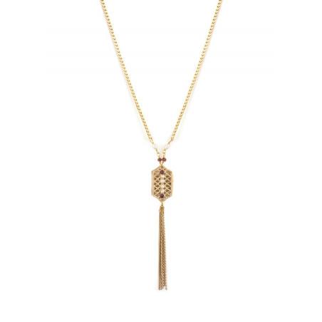 Collier mi-long glamour perles de rivière et grenats | Perle