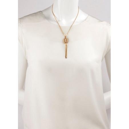 Collier mi-long glamour perles de rivière et grenats | Perle71614
