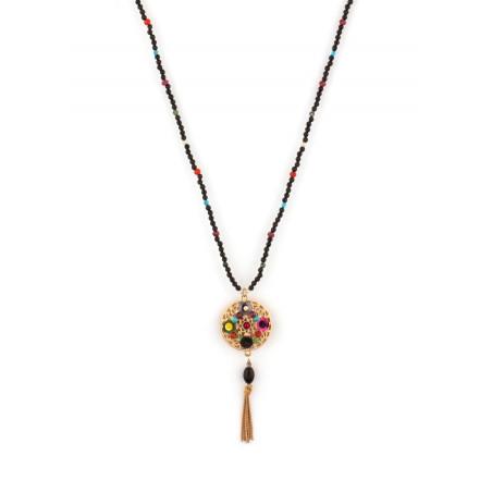 Collier mi-long graphique pierres et sequins   Multicolore