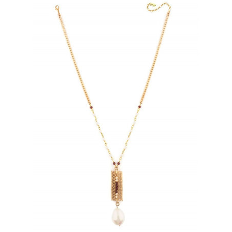 Collier mi-long glamour perles de rivière et grenats | Perle71629