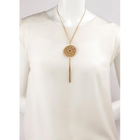 Collier mi-long féminin perles de rivière et grenats | Perle71638