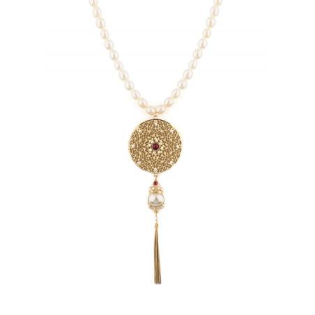 Collier mi-long baroque perles de rivière cristaux | Perle