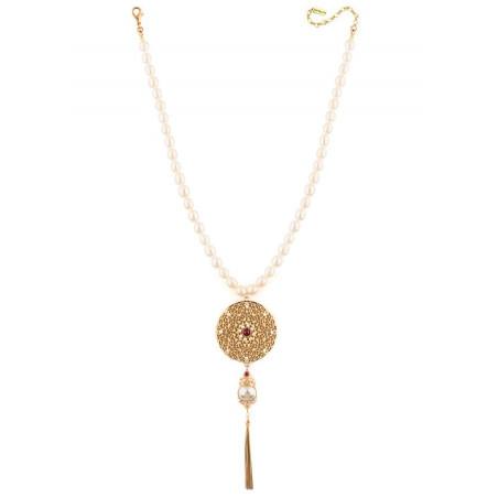 Collier mi-long baroque perles de rivière cristaux | Perle71645