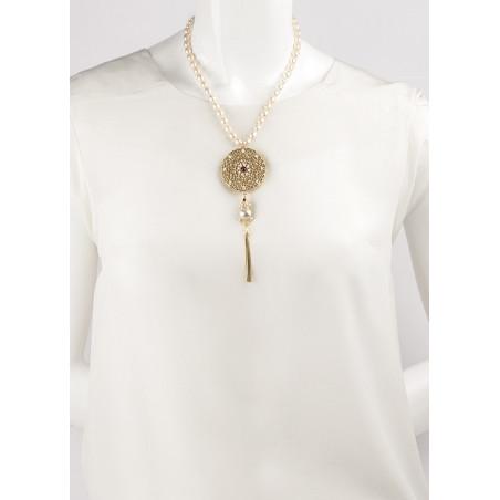 Collier mi-long baroque perles de rivière cristaux | Perle71646