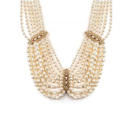 Collier plastron baroque perles de rivière et grenats | Perle