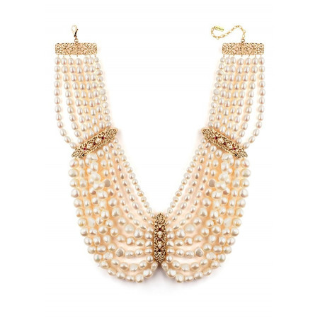 Collier plastron baroque perles de rivière et grenats | Perle71653
