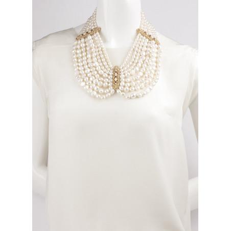 Collier plastron baroque perles de rivière et grenats | Perle71654