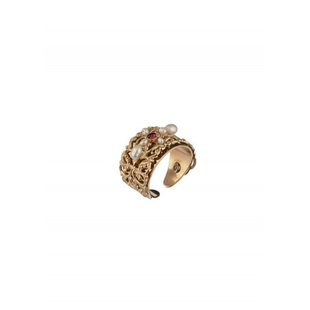 Baroque freshwater pearl crystal ring Pearl