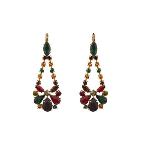 Boucles d'oreilles dormeuses sophistiquées cristaux | Multicolore