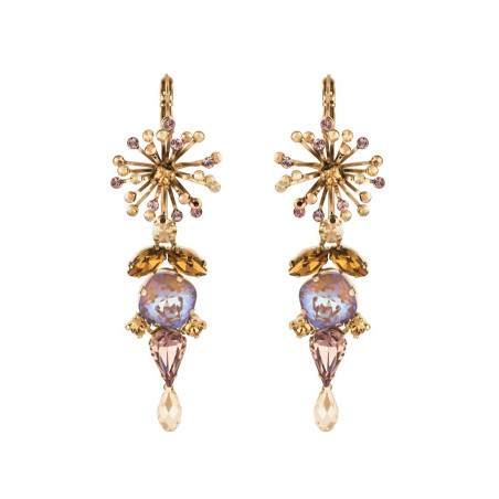 On-trend sleepers earrings with crystal l Antique pink