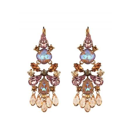 Boucles d'oreilles dormeuses tendances cristaux   Vieux rose