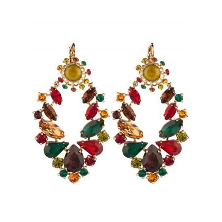 Boucles d'oreilles dormeuses féminines cristaux   Multicolore