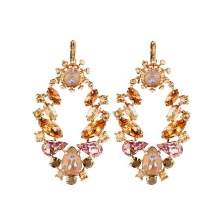 Boucles d'oreilles dormeuses pointues cristaux | Vieux rose