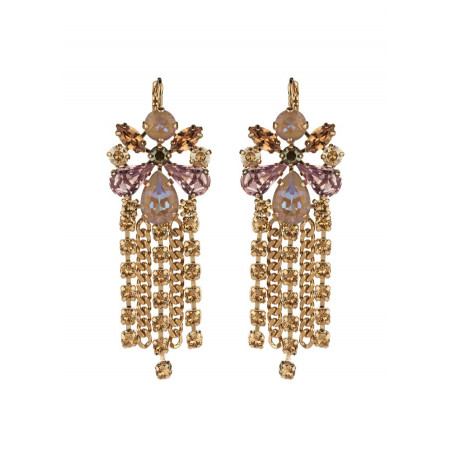 Festive sleepers earrings with crystal l Antique pink