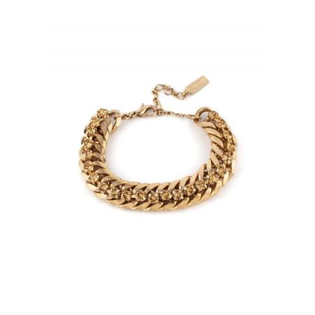 Chic crystal flexible chain bracelet   Antique pink