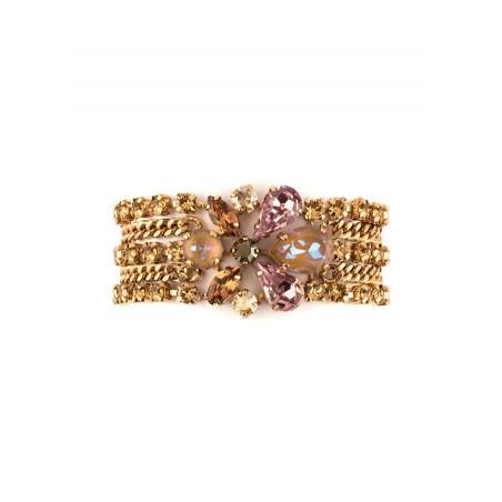 Bracelet souple solaire strass et cristaux | Vieux rose