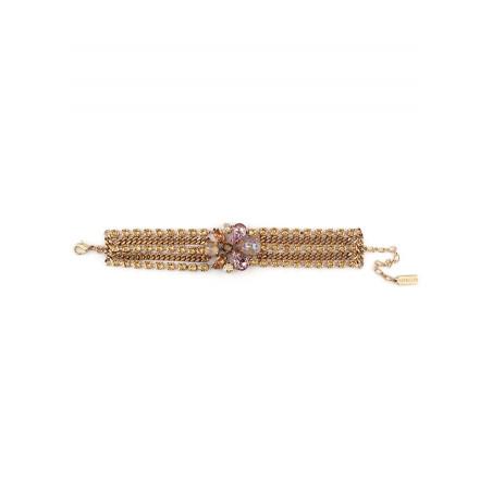 Bracelet souple solaire strass et cristaux | Vieux rose71790